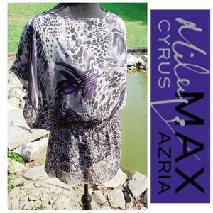 Animal Print purple floral sheer peplum top small